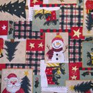 1 yard - Holiday patchwork, snowman, santa, trees, packages all over red, green, gold fabric
