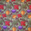 1.66 yard -  Dark green flannel with red, orange, gold and purple leaves,acorns tossed on fabric