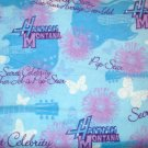 1.33 yard - Hannah Montana themed blue flannel with blue and purple designs all over fabric