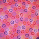 1 yard - Pink marbled look fabric with flower stamps in red, blue, orange and yellow all over fabric