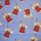 1 yard - Brother Sister design - Stitches with Wishes - Light blue fabric, angel bears, gold accents