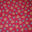 1 yard - Burgundy fabric with tiny sunflowers and checkerboards all over