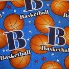 2/3 yard - Basketball print on blue fabric wtih red, white stars