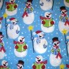 1 yard - Singing Snowmen on blue fabric