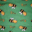 2.33 yards - Green with happy bees tossed all over fabric - LAST PIECE AVAILABLE