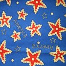 1.875 yards - Red stars and buttons on blue fabric