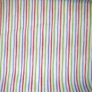 1.875 yards - Red, green, purple stripes on white fabric