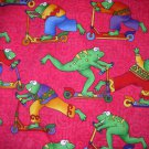 2.875 yards - Frogs on wheels - hot pink background fabric