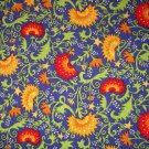 1 yard - Country Life design #4874 - Folk art print - Scroll Thistle dark blue, red, yellow