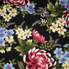1 yard - Kona Bay Fabrics - Out of Print - Floral on black fabric - Design # KF-598