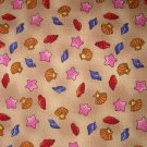 1.33 yards - Seashells on sand colored background fabric