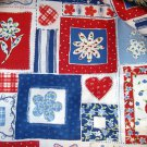 1.5 yard - Summer floral squares - Red, White, Blue design in patch print