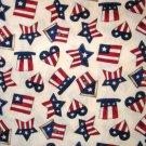 1 yard - Debbie Mumm hats, stars, hearts on cream fabric