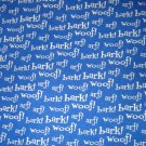 1.5 yard - Dog words on blue fabric - Bark, Woof, Art