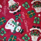 1.33 yards - Santa and snowmen on red fabric