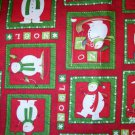 1.875 yards - Debbie Mumm Snowmen in squares coordinate fabric - Red, white, green, tan