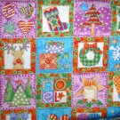1.8 yard - Holiday squares fabric - Purple, blue, green - Wreath, reindeer, trees, presents