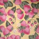 1.875 yards - Pale strawberries on yellow fabric - pink, yellow, green, white