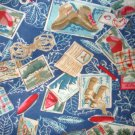 1 yard - Camping, hiking themed flannel fabric - Blue - Postcards, boots, compass, tents
