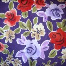 1.75 yards - Purple flannel fabric with red, olive and lilac flowers all over