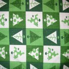 1 yard - Sparkly trees in green squares - green, white fabric