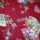 1 yard - Asian fans with gold accents all over dark red fabric - Kona Fabrics