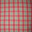 1.75 yard - Raspberry pink homespun with aqua details in fabric