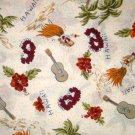 1 yard - Hawaii print fabric - Luau, Hula, Guitars, Leis, Palm trees