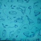 1 yard - Blue fabric with navy winter accessories