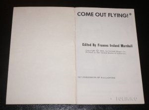 COME OUT FLYING / Vintage Magic Book