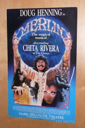 DOUG HENNING IN MERLIN ON BROADWAY WINDOW CARD / Magic