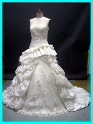 A-Line Strapless Taffeta&Tull  any-size Wedding Gown(RD026)