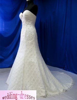 Factory Sample A-line Strapless Lace Beaded Wedding Dresses(PR045)