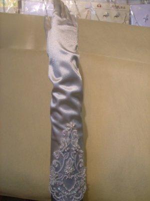 Satin Lace Beaed  Bridal Wedding Gloves(ST0009)