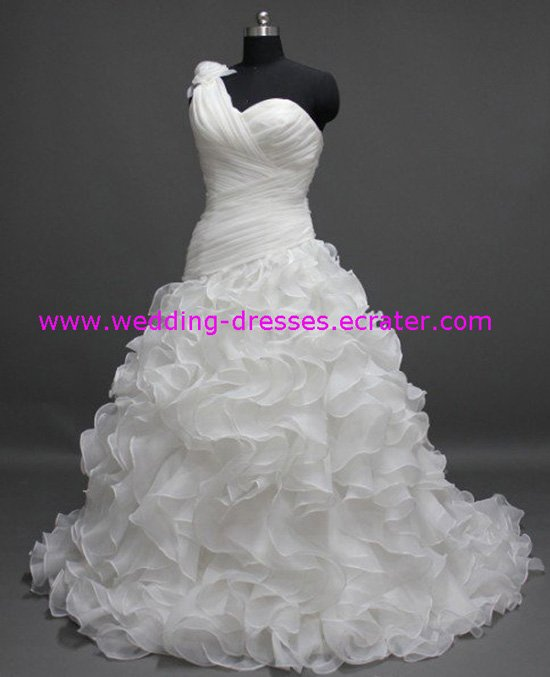 Hot Sales One-shoulder Ruffled Real Wedding Dress / Sample Picture Of Factory(WD598)