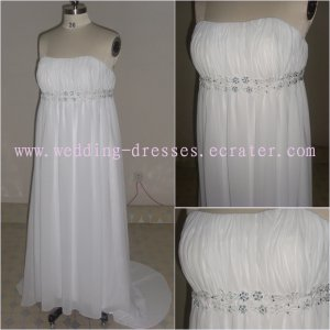 Strapless Custom-Made Maternity Wedding Dress/ Pregnant Formal Dress For Wedding (MD007)