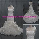 Hot Sales One Shoulder Hand Flowers Custom-Made Mermaid Real Picture Wedding Dress 2012(WD917)