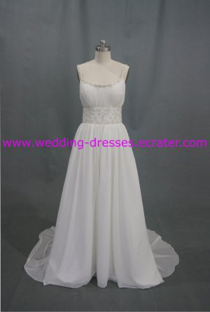 Top Sales Spaghetti Strap Chffion Embroidery Beadings Real Picture Wedding Dress/Bridal Gown(WD921)