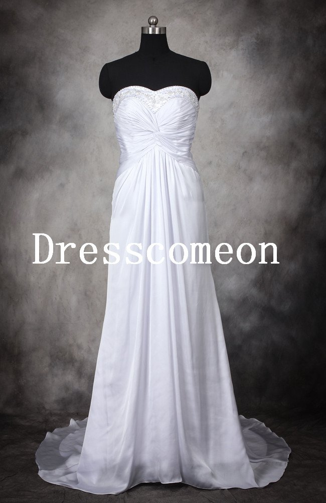 Elegant A-line Sweetheart Satin Floor Length Beading White Wedding Dress/Bridal Gown