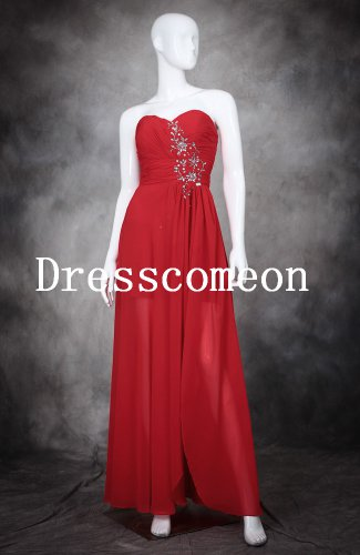 Sexy A-line Sweetheart Ruffles and Beadings Floor Length Red Prom Dresses