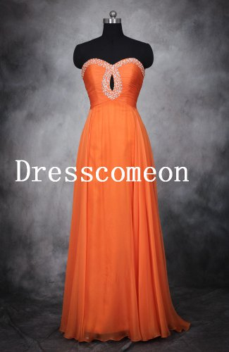 Beaded Sweetheart Neck Floor Length Chiffon Prom Dresses