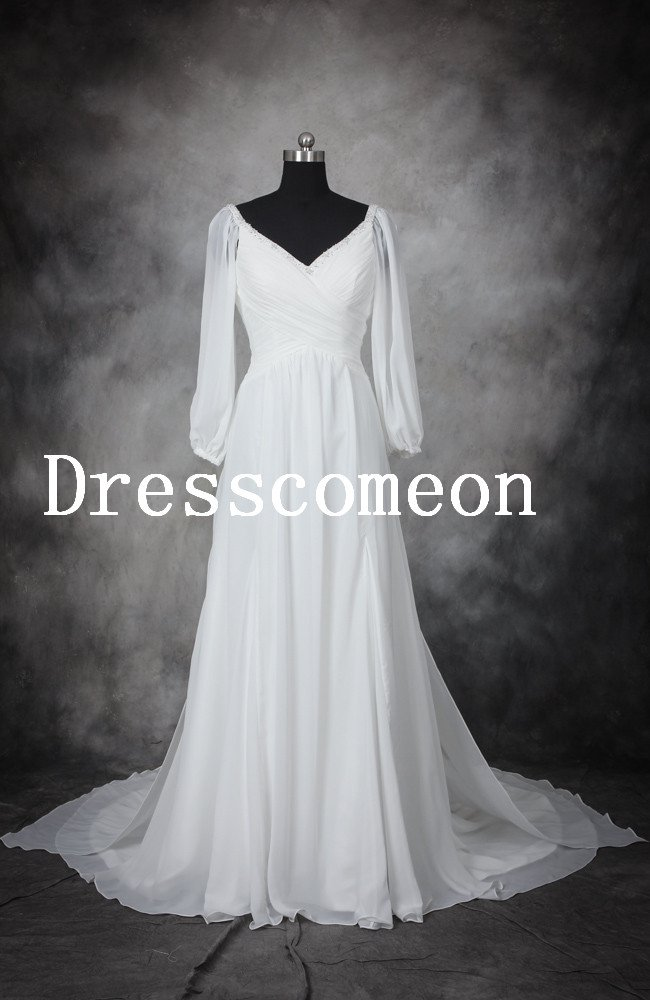 High Quality A-line V-neck Long Sleeveless Floor Length White Chiffon Wedding Dress/Bridal Gown