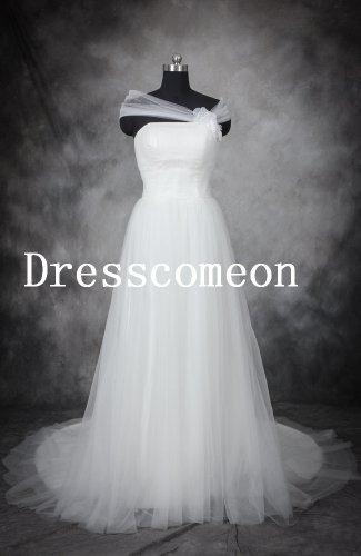 Princess A-line Strapless Sleeveless Floor Length White Tulle Wedding Dress/Bridal Gown