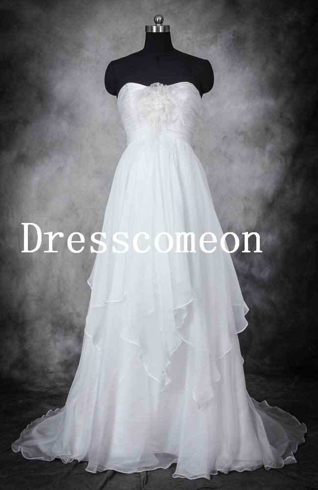 Elegant Princess Style, Chiffon Sweetheart Floor Length Ball Gown Wedding Dress