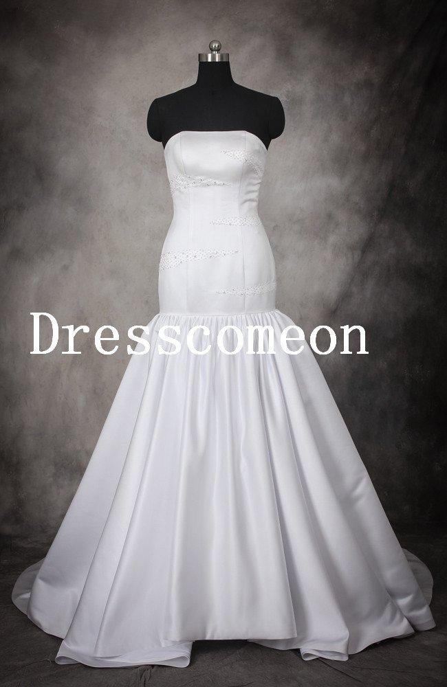White Chapel Train Beading Mermaid Wedding Dress(MD014)