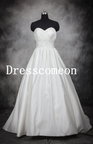 White Strapless Zipper Back Wedding Dress/ Bridal Gown(MD021)