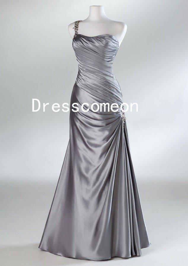 One Shoulder Satin Grey Prom Dresses(MD027)