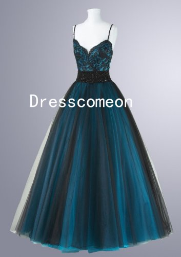 Charming Spaghetti Straps Beading Floor Length Tulle 2014 Prom Dresses(MD029)