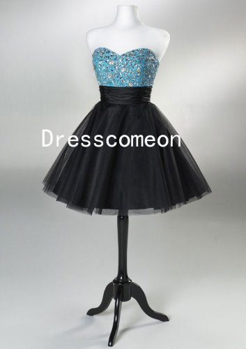 A-line Short/Mini Silver Beading Bodice Black Tulle Cocktail Dress(MD043)
