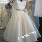 A-line V-neck Floor-length Lace and Organza Wedding Dress With Flower(WD00111)